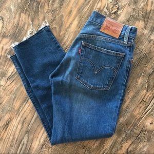 Levi's 501 stretch 24 crop frayed bottom jeans